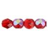 Fire Polished 7mm Transparent Siam Ruby Aurora Borealis